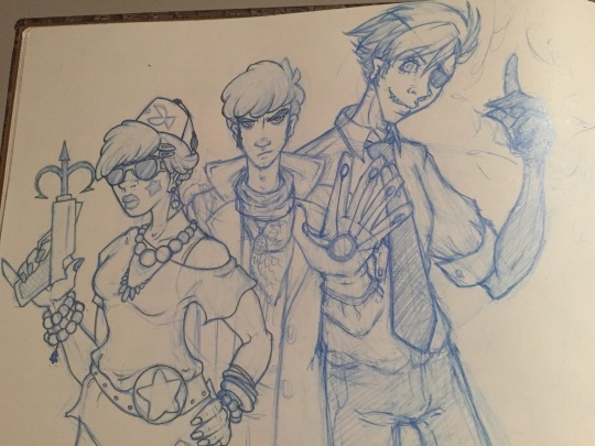 Adult/human versions of Mabel, Dipper, and Bill from 10Y2W. Sketch.